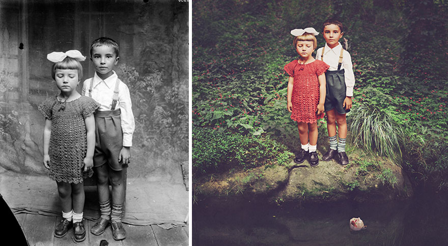 old-photos-recoloured-siblings