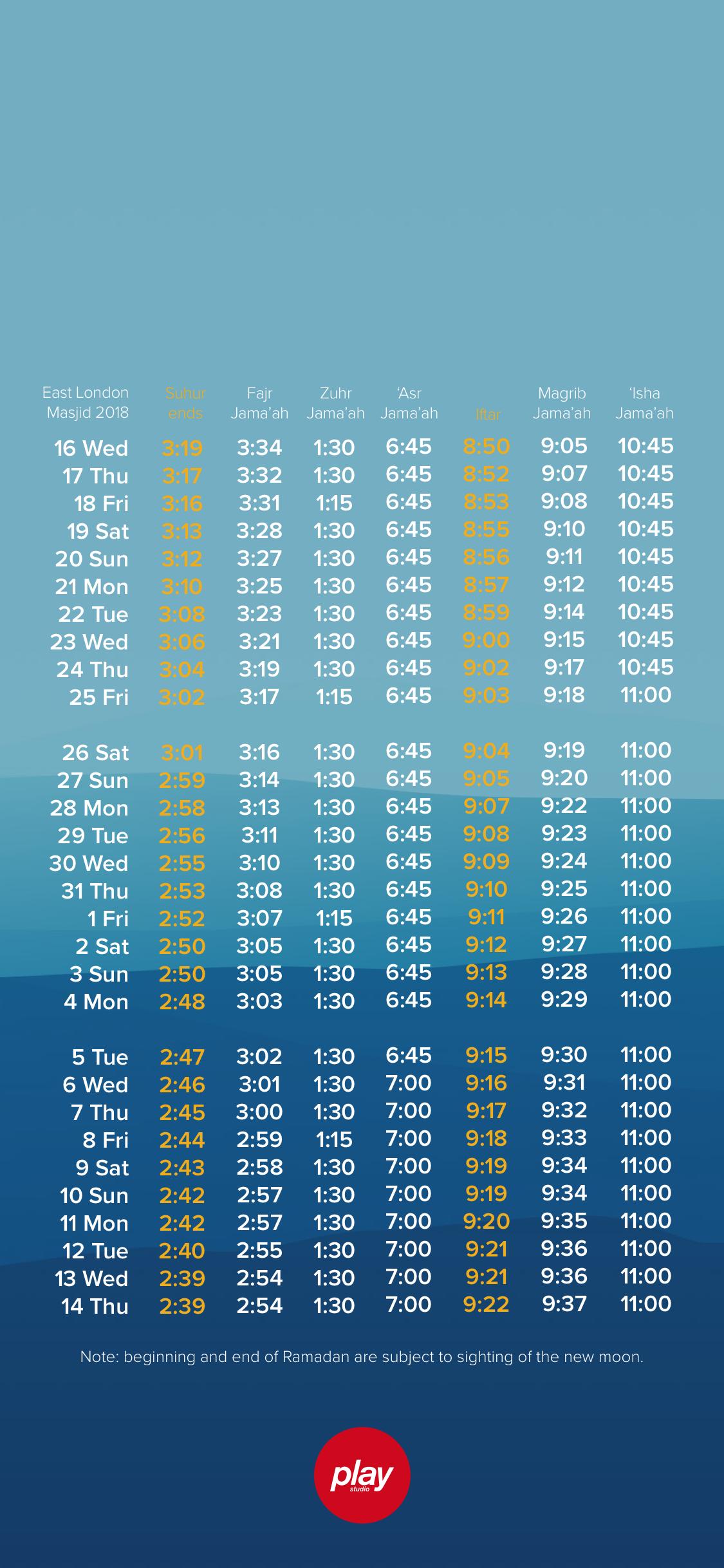 Ramadan Timetable Wallpaper Play Studio