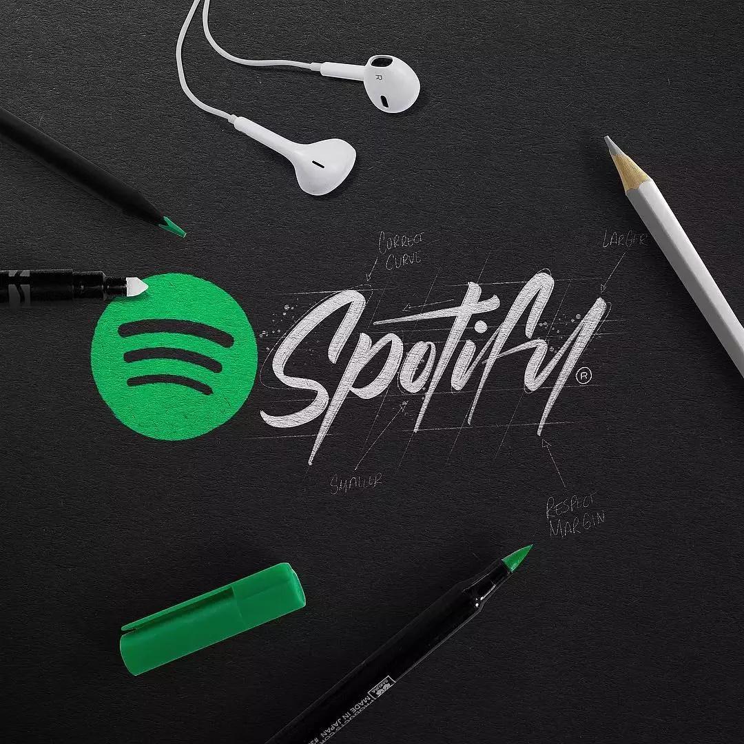 handlettering spotify logo
